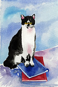 Watercolor Cat Paintings - The Thinker by Lydia Irving