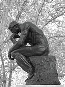 Ann Horn Prints - The Thinker - Philadelphia BW Print by Ann Horn