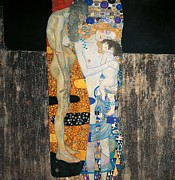 Vienna Metal Prints - The three ages of woman Metal Print by Gustav Klimt