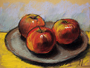 Mona Edulescu Pastels - The Three Apples by EMONA Art