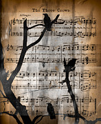 Music Notes Framed Prints - The Three Crows Framed Print by Gothicolors With Crows