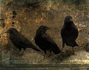 Graveyard Digital Art Prints - The Three Print by Gothicolors With Crows