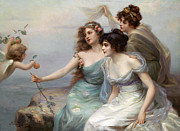 Grey Clouds Prints - The Three Graces Print by Edouard Bisson