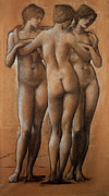 Nudes Nude Girls Framed Prints - The Three Graces Framed Print by Edward Burne Jones
