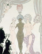Skin Painting Posters - The Three Graces Poster by Georges Barbier