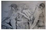 Nude Models Prints - The Three Models Print by Joseph Wetzel