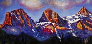 Mass Pike Prints - The Three Sisters Canmore Alberta Mountains Print by Joyce Sherwin