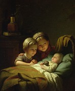 Young Prints - The Three Sisters Print by Johann Georg
