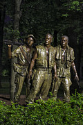Vietnam Veterans Memorial Posters - The Three Soldiers Poster by John Greim