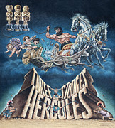 Distress Painting Posters - The Three Stooges Meet Hercules Poster by Official Three Stooges