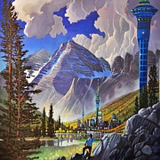 Science Fiction Paintings - The Three Towers by Art West