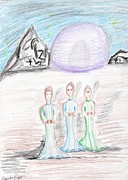 Teachers Drawings - The Three Wallows by Cassandra Vanzant