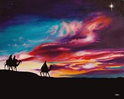 Star Of Bethlehem Painting Posters - The Three Wise Men Poster by Sheri Wiseman
