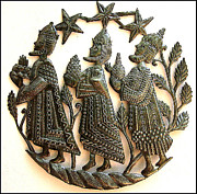 Drum Sculptures - The Three Wise Men Wall Hanging - Magi - Christmas Design by Jn Pierre