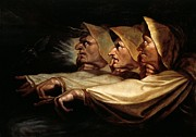 Fine Arts Framed Prints - The Three Witches Framed Print by Henry Fuseli