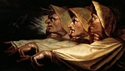 Old Face Framed Prints - The three witches Framed Print by Johann Heinrich Fussli