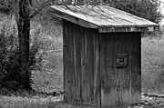 Outhouses Framed Prints - The Throne B/W Framed Print by Juls Adams