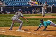 Baseball Photo Metal Prints - The Throw To First Metal Print by Karol  Livote
