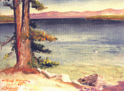 Outlook Painting Prints - The Thumb at Yellowstone Lake Print by Art By Tolpo Collection