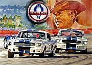 Racing Mustangs Posters - The Thundering Blue Stripe GT-350 Poster by David Lloyd Glover