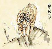 Oriental Tiger Digital Art - The tiger by Tim Shelbourne