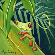 Frog Paintings - The Timid One by Lyse Anthony