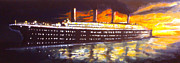 Liner Paintings - The Titanic by Paul Mitchell