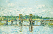 Perspective Painting Prints - The Toll Bridge New Hampshire Print by Childe Hassam