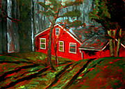 Brushwork Framed Prints - The Tomato Red House Framed Print by Charlie Spear