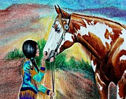 Paint Horse Mixed Media Posters - The Touch Poster by Carolyn Valcourt