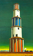 Chirico Posters - The tower and the train by Giorgio de C Poster by Stefano Baldini