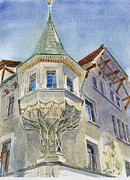 Switzerland Painting Originals - The Tower at Conditorei Central by David Gilmore