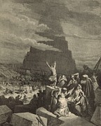 Bible Drawings - The Tower of Babel by Antique Engravings