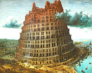 Catholic Pyrography Posters - The Tower of Babel Poster by Miguel Rodriguez