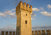 Italian Sunset Posters - The Tower of Scaliger Fortress in Sirmione Poster by Kiril Stanchev