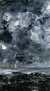 Dark Skies Painting Framed Prints - The Town Framed Print by August Johan Strindberg