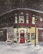 Snowy Night Metal Prints - The Toy Shop Metal Print by Jack Skinner