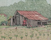Shed Drawings Prints - The Tractor Barn Print by Calvert Koerber