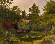 Janet Felts Painting Metal Prints - The Tractor by the Gate Metal Print by Janet Felts