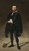Sword Paintings - The Tragedian Actor Rouviere as Hamlet by Edouard Manet