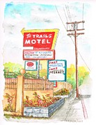 Cards Vintage Painting Posters - The-Trails-Motel-in-Lone-Pine-CA Poster by Carlos G Groppa