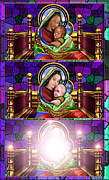 Stain Glass Framed Prints - The Transfiguration Of Madonna and Child  Framed Print by Reggie Duffie