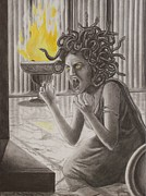 Medusa Drawings Framed Prints - The Transformation Framed Print by Amber Stanford