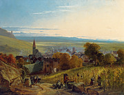Village Views Prints - The Travellers Print by Christian Ernst Bernhard Morgenstern