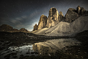 Drei Prints - The Tre Cime di Lavaredo by Night Print by James Rushforth