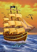 Pirate Ships Digital Art Posters - The Treasure Hunter Poster by Glenn Holbrook