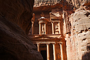 Petra Metal Prints - The Treasury seen from from the Siq Petra Jordan Metal Print by Robert Preston