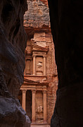 Petra Metal Prints - The Treasury seen from the Siq Petra Jordan Metal Print by Robert Preston