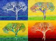 Cool Mixed Media Prints - The Tree 4 Seasons - Painterly - Abstract - Fractal Art Print by Andee Photography