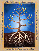 Roots Pastels Posters - The Tree Aflame Poster by Kathy Hooper